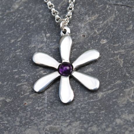 Jasmine flower pendant necklace with amethyst gem P22